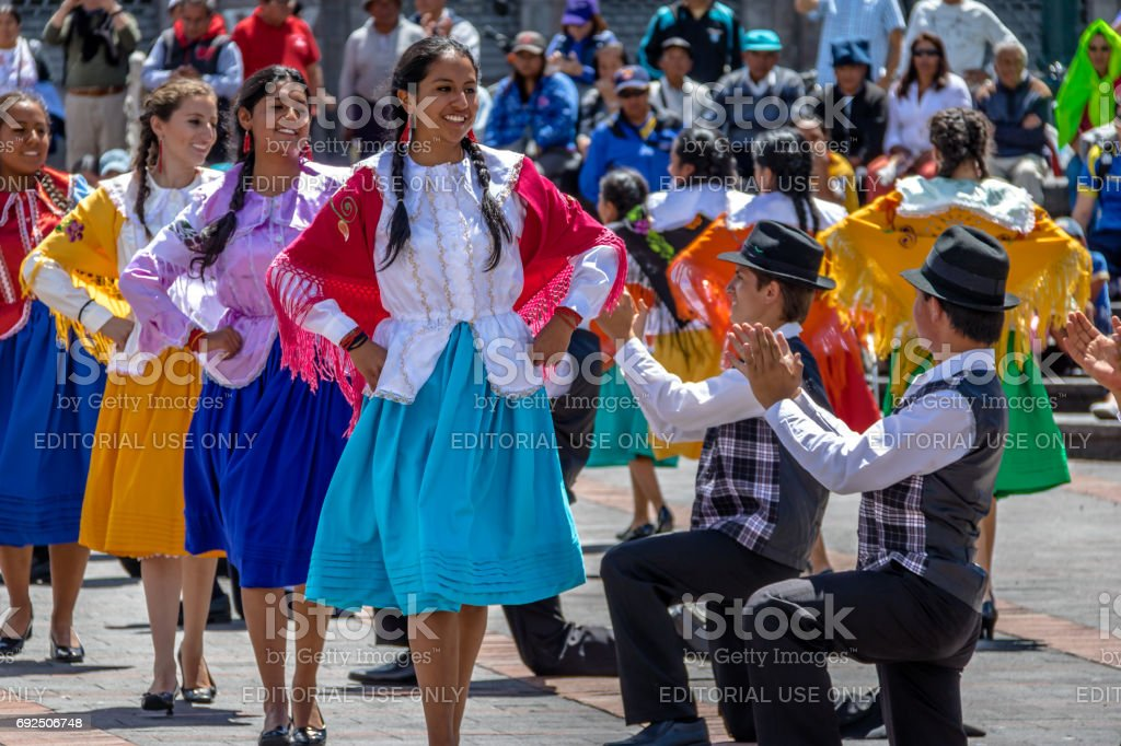 Group in local costume performing ecuadorian traditional dance - Quito, Ecuador stock photo