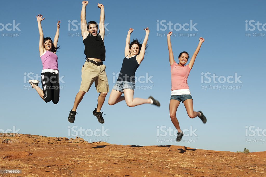 Group Jumping for Joy royalty-free stock photo
