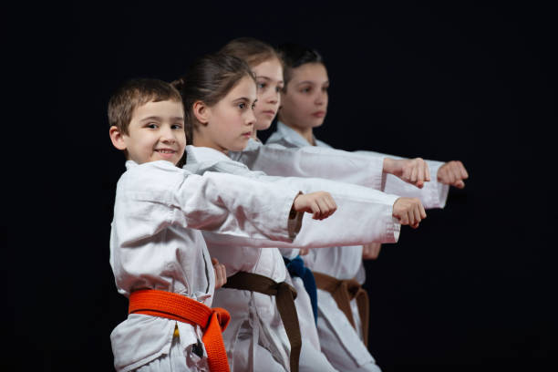 gruppe kinder karate martial arts - karate stock-fotos und bilder