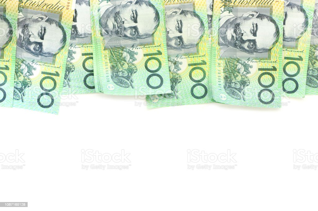 group of 100 dollar Australian notes on white background have copy space for put text stock photo