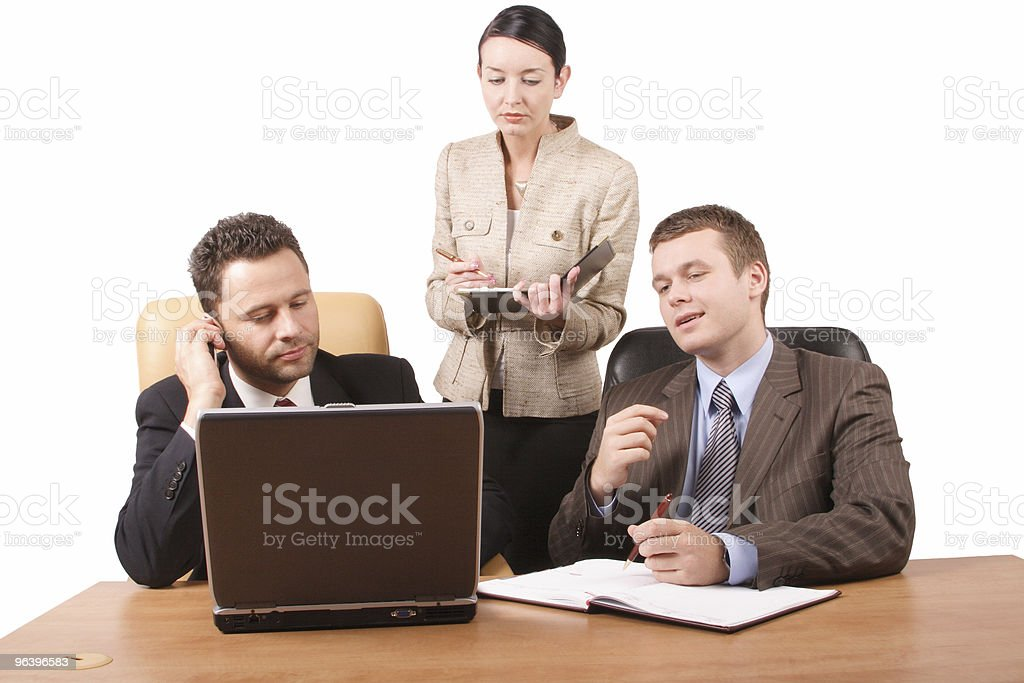 Group of 3 business people working together  with laptop royalty-free stock photo