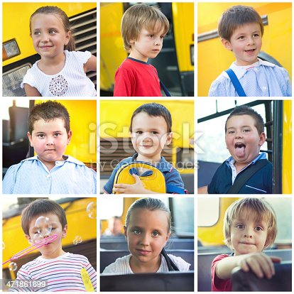 Group of 3-5 years-old Children with a School Bus