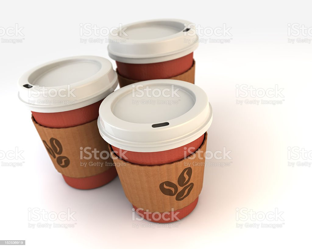 A group of 3D cardboard coffee cups royalty-free stock photo