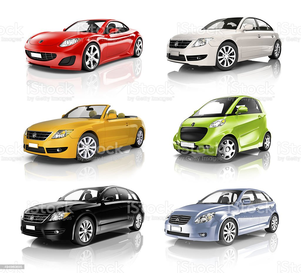 Car Stock Photos: Group Of 3d Diverse Cars In A Row Stock Photo & More
