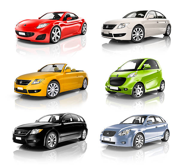 Group of 3D Diverse Cars in a Row stock photo
