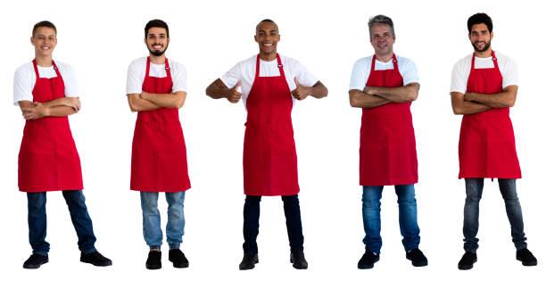 Grupo de 5 camareros caucásicos y africanos y latinoamericanos - foto de stock