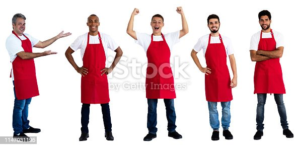 istock Group of 5 latin and caucasian and african american waiters 1147031195
