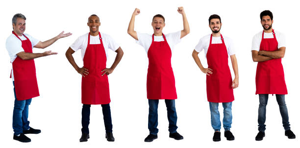 Group of 5 latin and caucasian and african american waiters Group of 5 latin and caucasian and african american waiters on an isolated white background for cut out sales clerk stock pictures, royalty-free photos & images