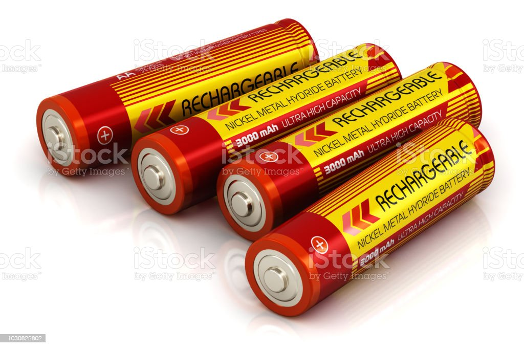 Group of AA size batteries stock photo