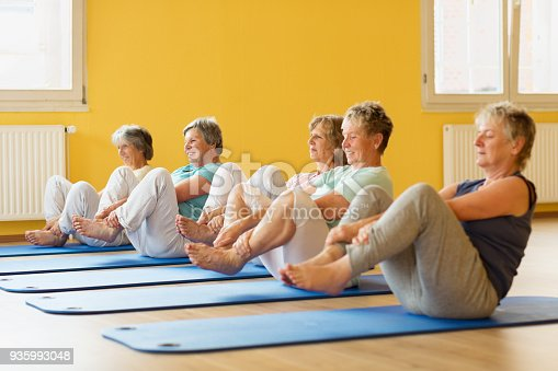 group of active senior women in yoga class exercising on mat in yellow painted room