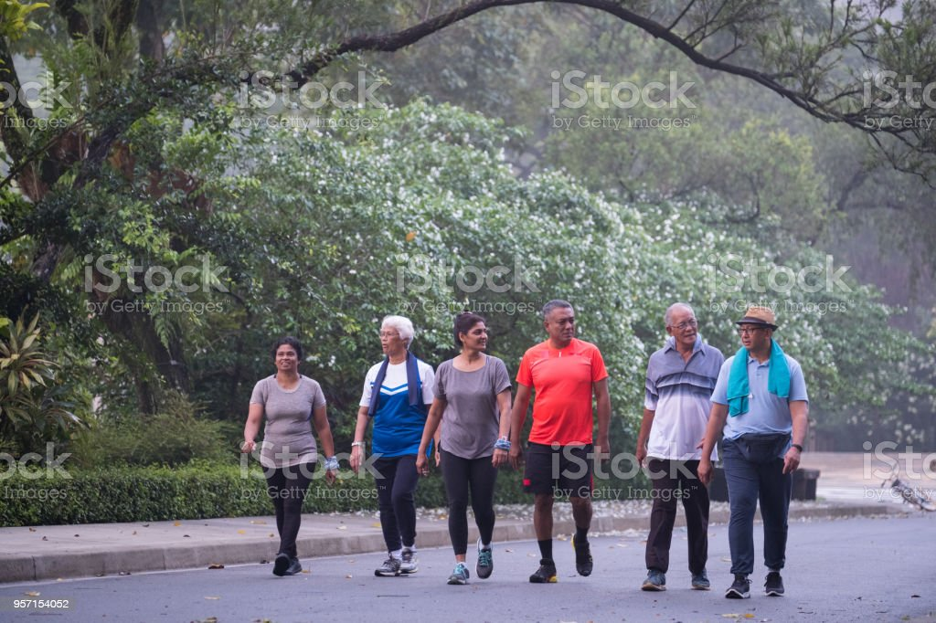 Group of active seniors walking in the park stock photo