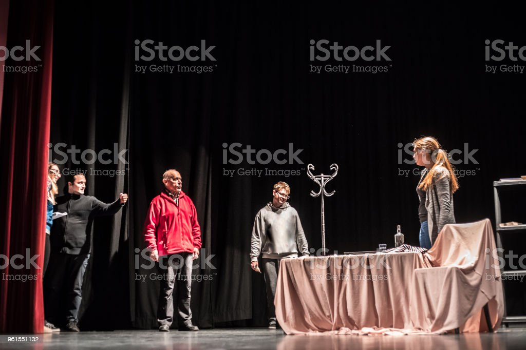 Group of Actors on Stage During Theatrical Performance.