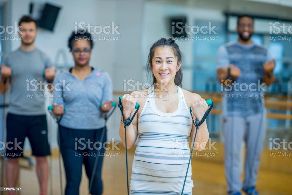 Group Of Adults Exercising zbiór zdjęć royalty-free