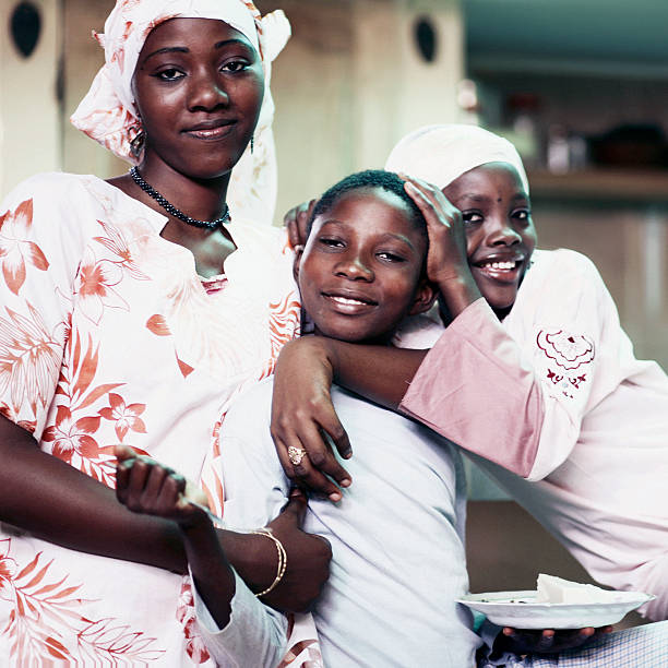 Group of African Children and Teenage Girl stock photo