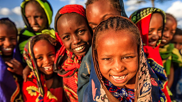 group of african children, east africa - african culture stock photos and pictures