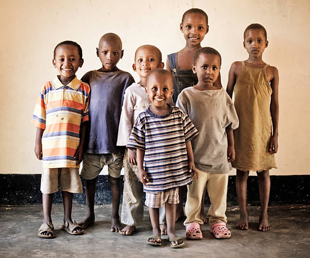Group of African Orphan Children stock photo