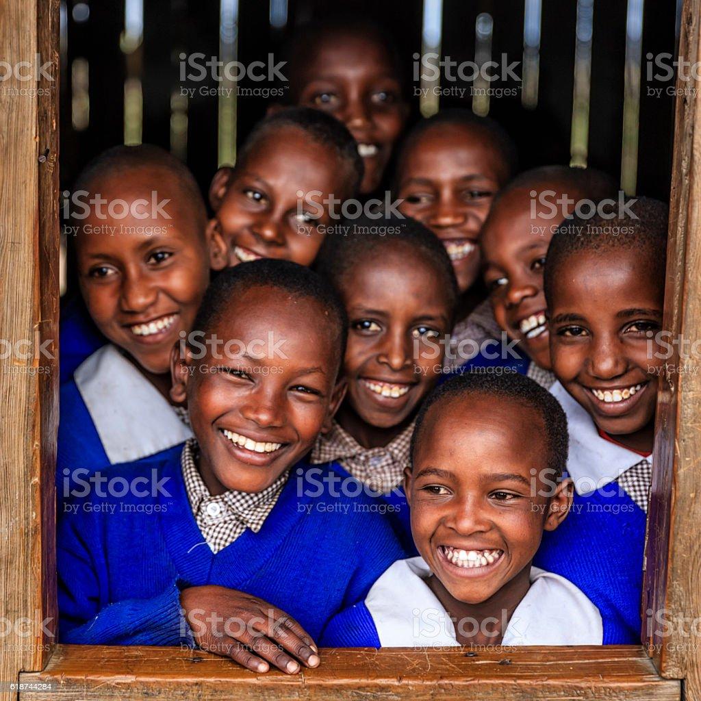 Group of African school children inside classroom, Kenya stock photo