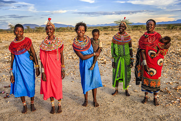 group of african women from samburu tribe, kenya, africa - kenya stock photos and pictures