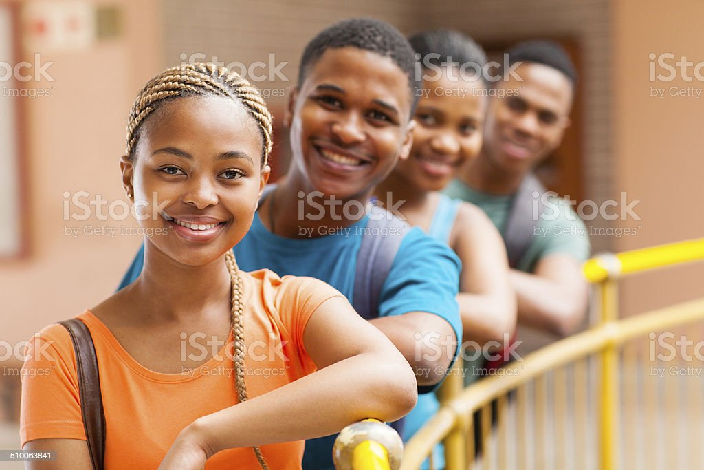 Group Of Afro American College Students Stock Photo