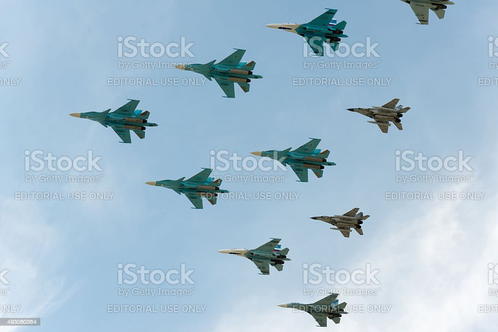 Group of airplanes Sukhoi Su-34 stock photo