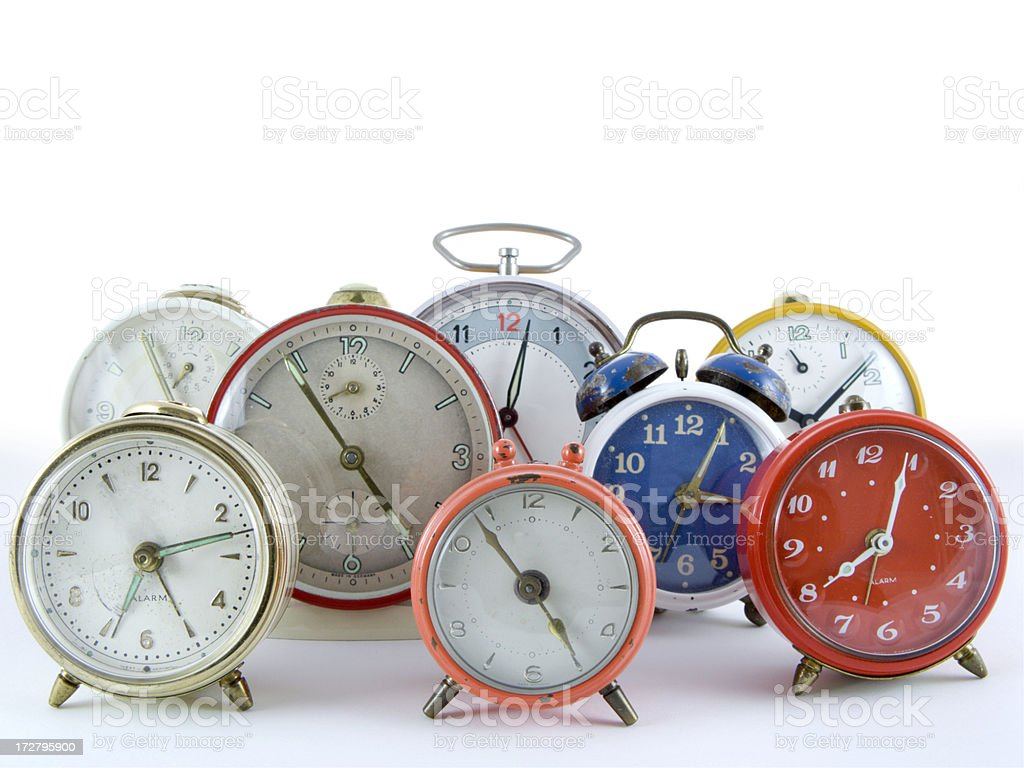 Group of alarm clocks royalty-free stock photo