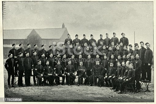Vintage photograph, Group of Aldershot Military Police, Britsh army. 19th Century