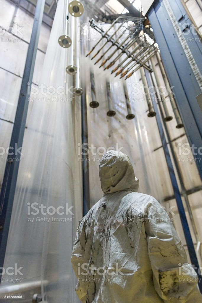 Group of aluminium poles painting stock photo
