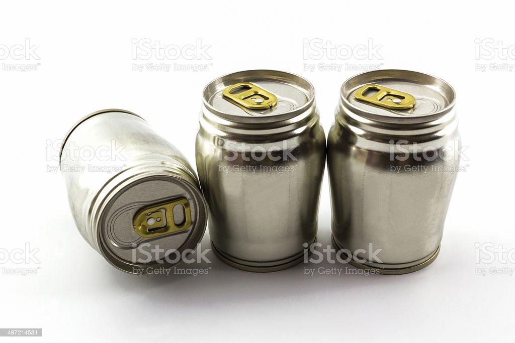 Group of aluminium tin can. stock photo