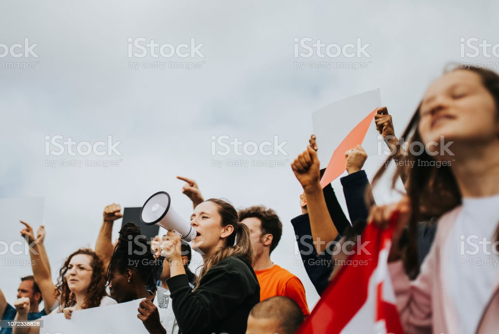 Group of American activists is protesting stock photo