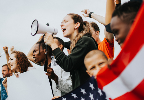 istock Group of American activists is protesting 1131052404