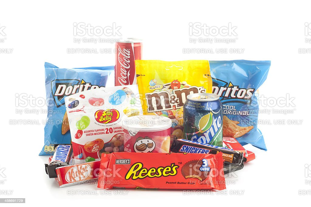 Group of American junk food snack products on white background royalty-free stock photo