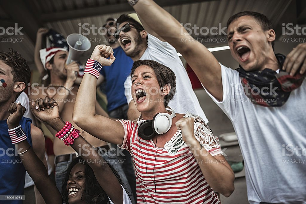 Group of american supporters at stadium stock photo