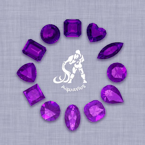 group of  amethyst  gemstones  with clipping path - birnen verlobungsringe stock-fotos und bilder
