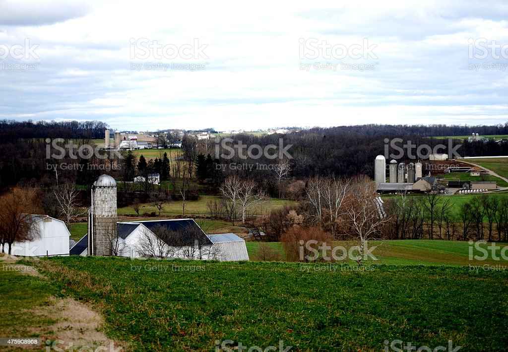 Group of Amish farms stock photo