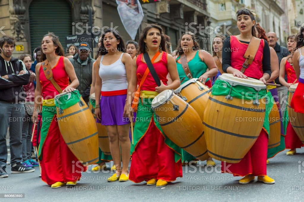 Group of argentine musicians playing drums in San Telmo, Buenos Aires stock photo