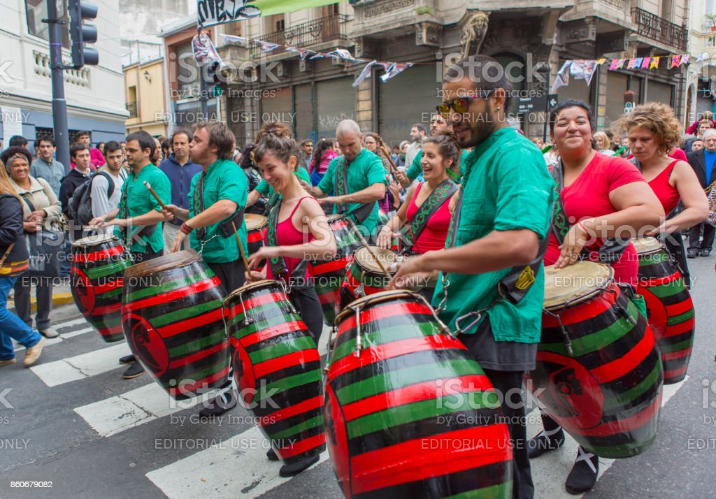Group of argentine musicians playing the drum in San Telmo, Buenos Aires stock photo