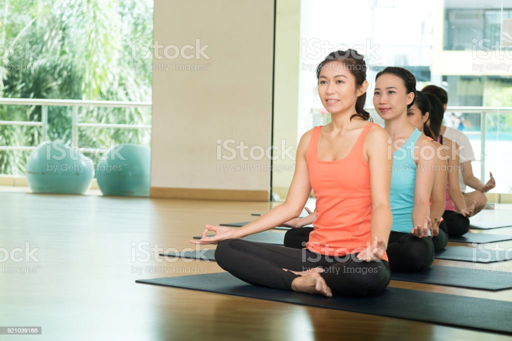 Group of asian women and man practicing yoga, meditation, working out, healthy lifestyle stock photo