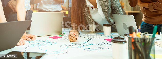 1133505958 istock photo Group of asian young creative happy people entrepreneur on a business meeting office background Good leadership and teamwork lead to success 1218201984