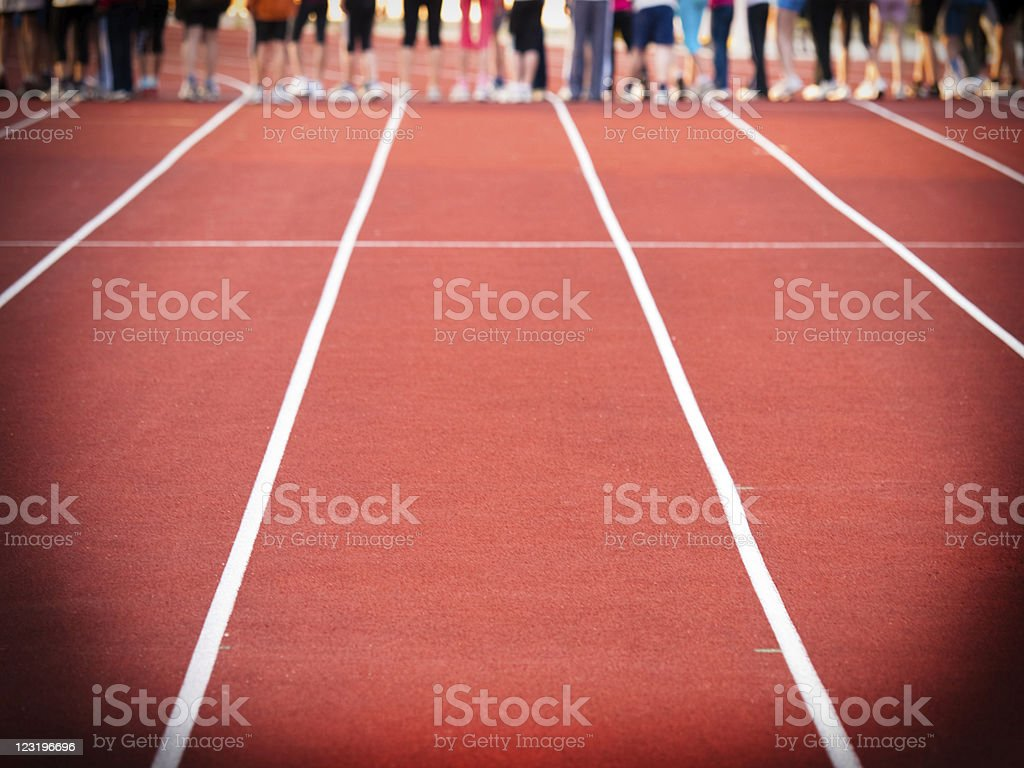 Group of athletes at the starting line royalty-free stock photo