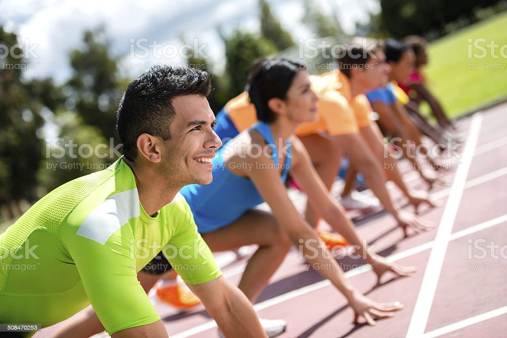 Group of athletes in a race stock photo