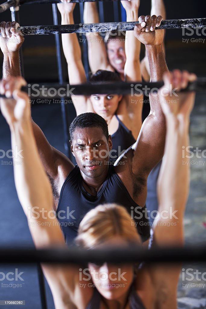 Group of athletes in gym stock photo