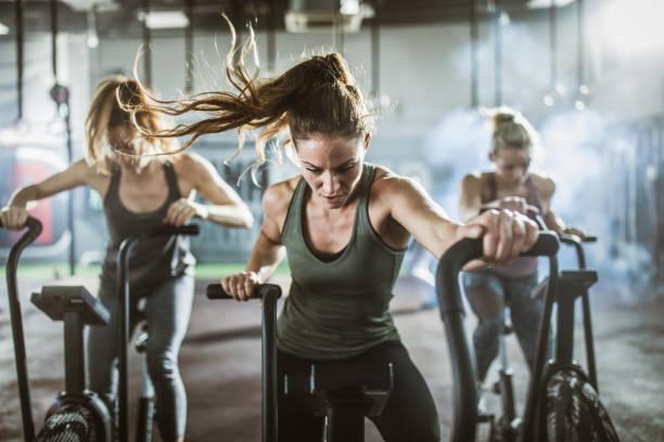 gruppe von sportlichen frauen auf heimtrainern in einem fitnessstudio. - herumwirbeln frau stock-fotos und bilder