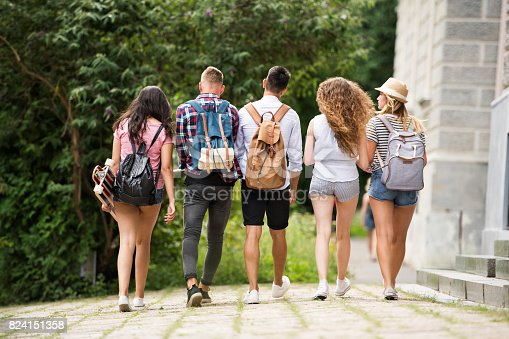 istock Group of attractive teenage students walking from university. 824151358