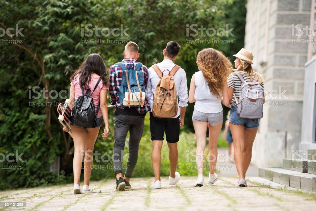 매력적인 십 대 학생 들이 대학에서 걷기의 그룹입니다. 스톡 사진