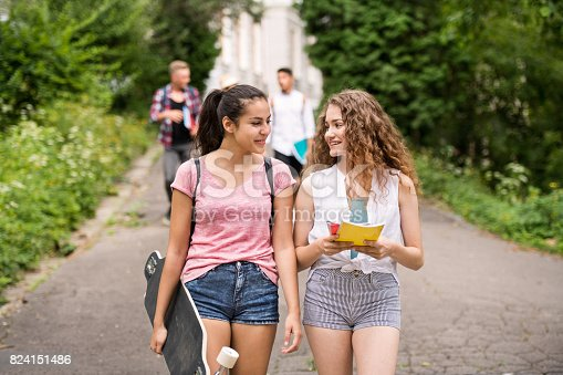 824257318 istock photo Group of attractive teenage students walking from university. 824151486
