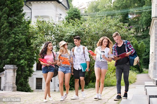 824257318 istock photo Group of attractive teenage students walking to university. 823776346