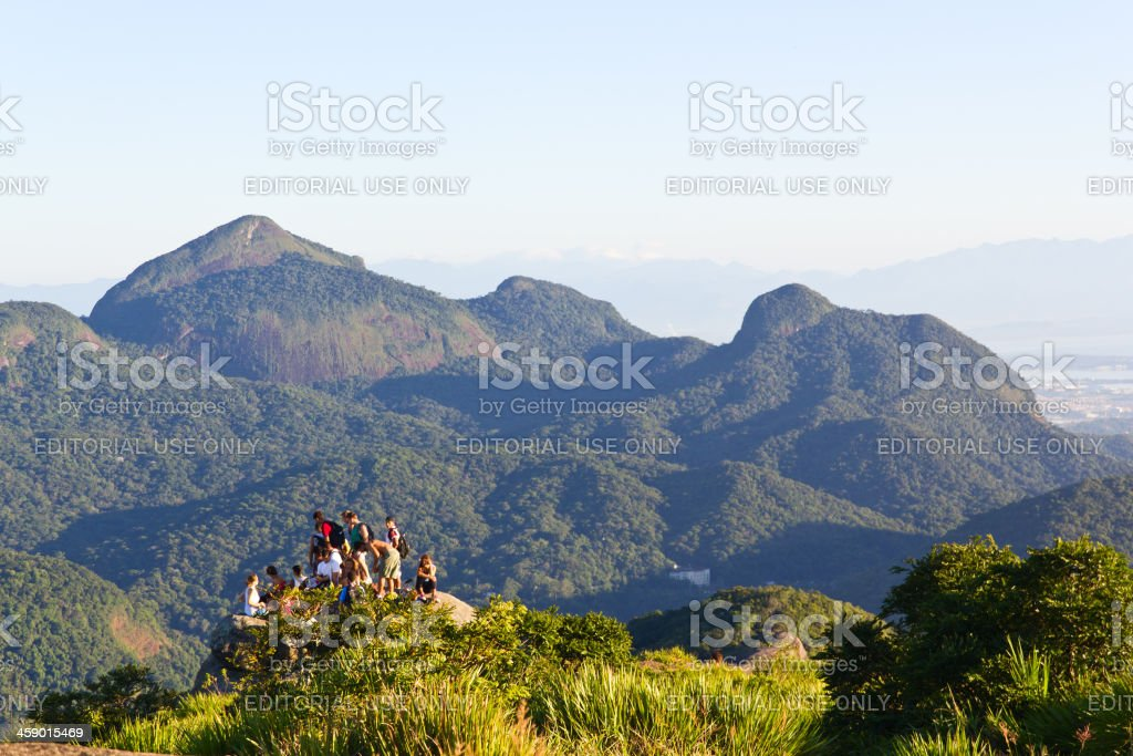 Group of aventures at Pedra da Gavea royalty-free stock photo