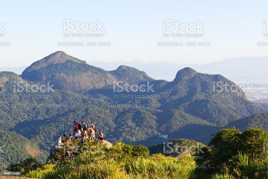 Group of aventures at Pedra da Gavea stock photo