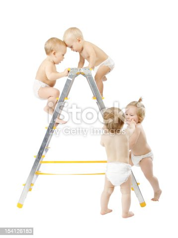 istock Group of babies climbing on stepladder, fighting for first place 154126183