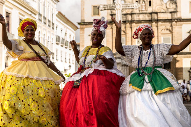 """Group of """"Baianas"""" in the famous Pelourinho in Salvador, Bahia, Brazil People collecion afro caribbean ethnicity stock pictures, royalty-free photos & images"""